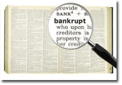 Bankrupt Definition Closeup