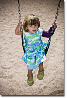 Girl On Swing With Broken Arm