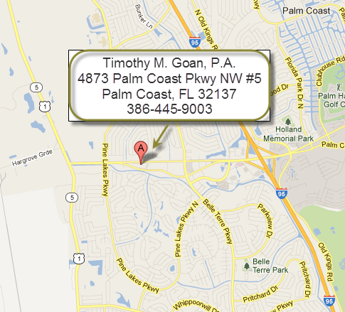 Map with location of Timothy M Goan, P.A. Law Office